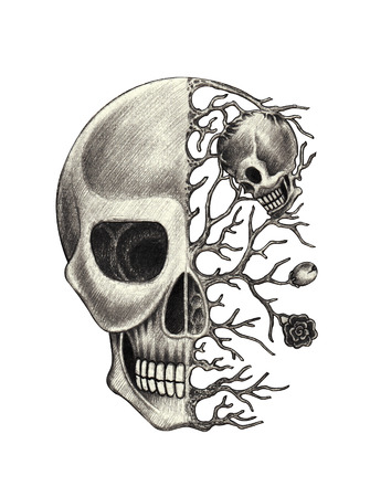 Skull art surreal.Hand pencil drawing on paper.