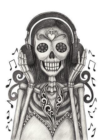 tatouage fleur: Crâne art écouter de la musique jour des morts festival.Hand dessin au crayon sur le papier.