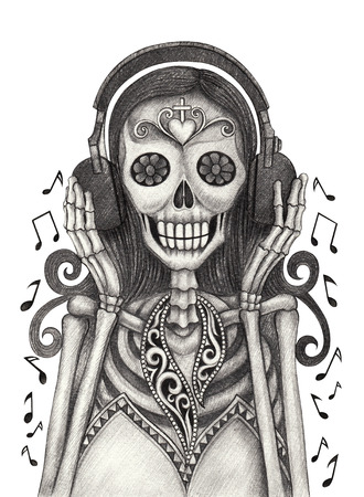 Skull art listen music day of the dead festival.Hand pencil drawing on paper.