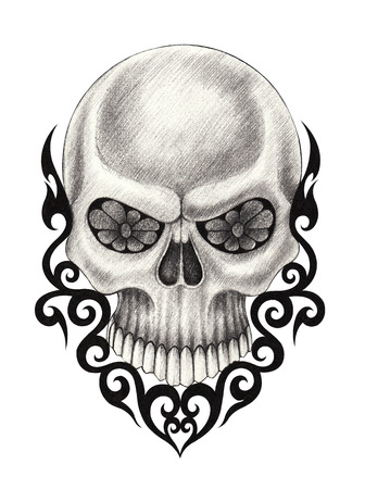 snob: Skull Tattoo. Hand pencil drawing on paper.