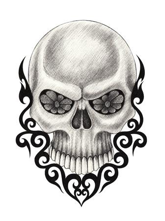 dork: Skull Tattoo. Hand pencil drawing on paper.