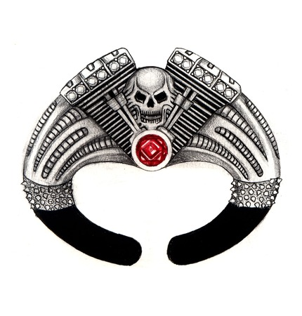 Jewelry Design skull on machine bangle. Hand drawing and painting on paper. photo