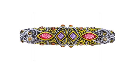 bangle: Jewelry Design art mix vintage bangle. Hand drawing and painting on paper.