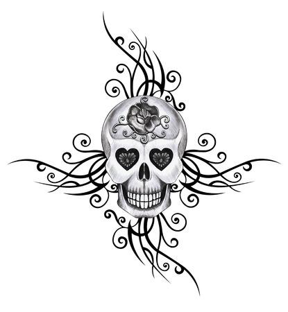 heavy heart: Skull tattoo hand pencil drawing on paper.