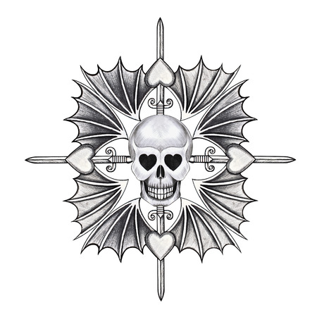 death metal: Skull mix heart wing  tattoo hand pencil drawing on paper Stock Photo