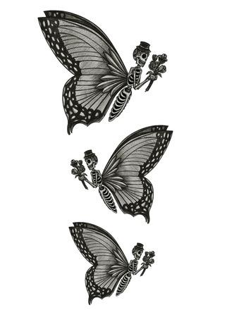 Cráneo días mariposa de la mano muerta dibujo a lápiz sobre papel. Foto de archivo - 40393846