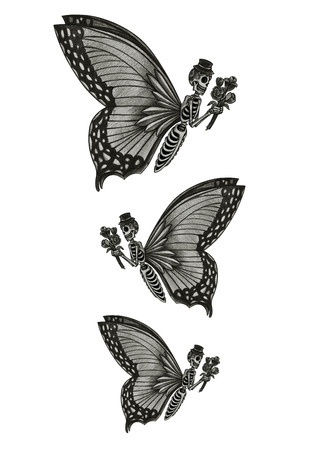 dead flowers: Skull butterfly day of the dead hand pencil drawing on paper.