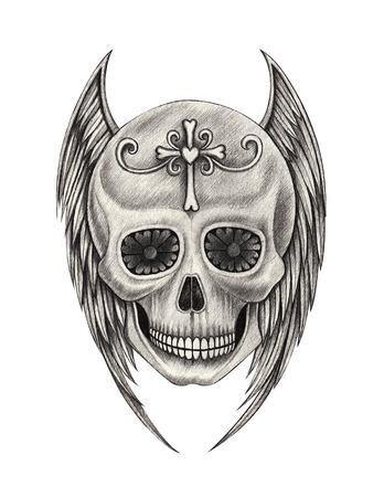 engel tattoo: Schädel-Flügel Engel Tattoo Hand Bleistiftzeichnung auf Papier.