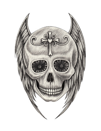 heavy heart: Skull wing angel tattoo hand pencil drawing on paper.