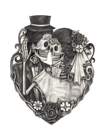 mujer con rosas: D�a de la boda cr�neo de la mano muerta dibujo a l�piz sobre papel. Foto de archivo