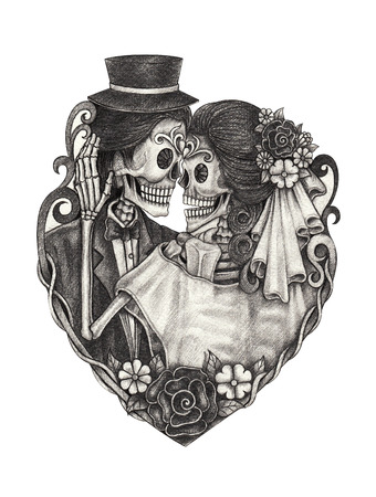 dead flowers: Skull wedding day of the dead hand pencil drawing on paper.
