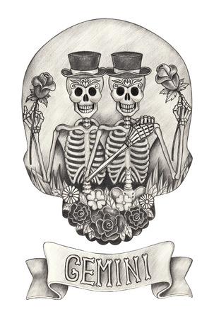 Zodiac Skull Gemini.Hand drawing on paper.
