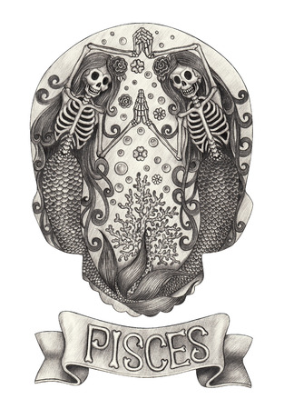 skull and crossbones: Zodiac Skull Pisces. Hand drawing on paper. Stock Photo