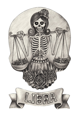 festival scales: Zodiac Skull Libra.Hand drawing on paper.