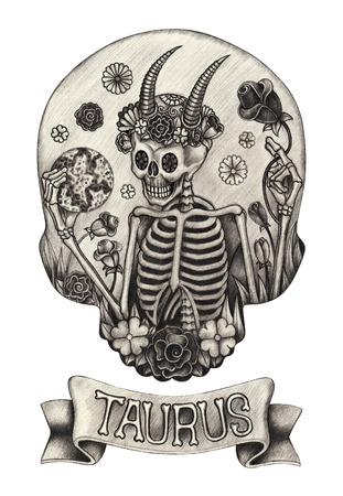 Zodiac cráneo Taurus .Hand dibujo en el papel. Foto de archivo - 40434927