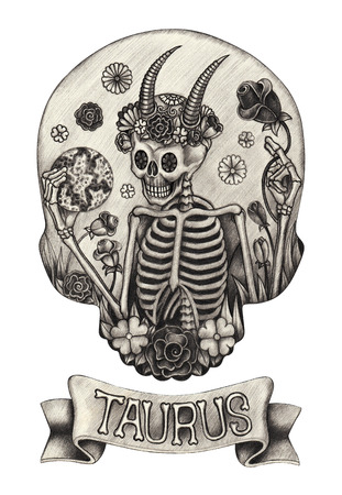 Zodiac Skull Taurus .Hand drawing on paper. Фото со стока