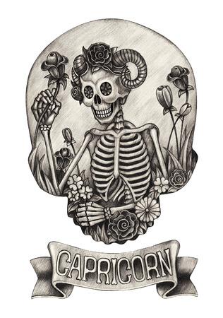 Zodiac Skull Capricorn.Hand drawing on paper.