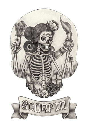 skeletons: Zodiac Skull Scorpio.Hand drawing on paper. Stock Photo