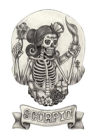 Zodiac Skull Scorpio.Hand drawing on paper. Stockfoto