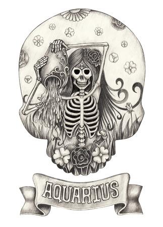 Zodiac Skull Aquarius.Hand drawing on paper. Stock Photo