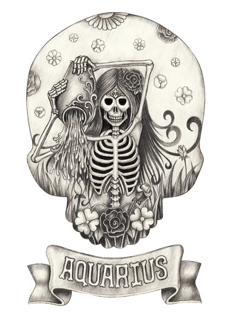 tribal aquarius: Zodiac Skull Aquarius.Hand drawing on paper. Stock Photo
