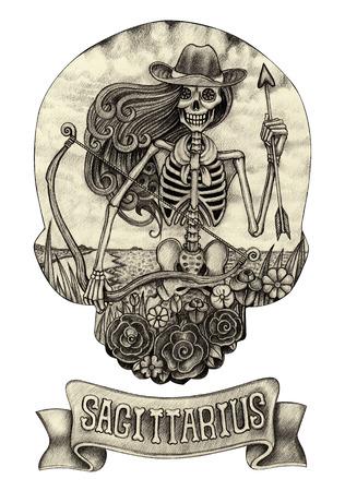 Zodiac Skull Sagittarius.Hand drawing on paper.