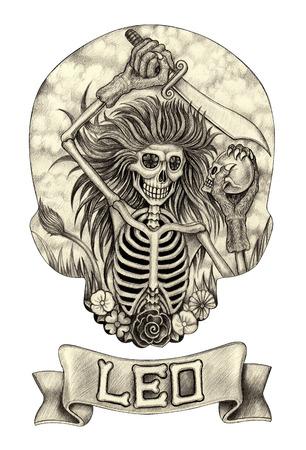 Zodiac Skull Leo.Hand drawing on paper. Фото со стока