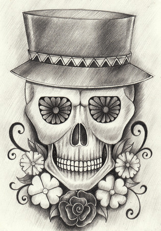 Head skull art day of the dead festival. hand pencil drawing on paper.