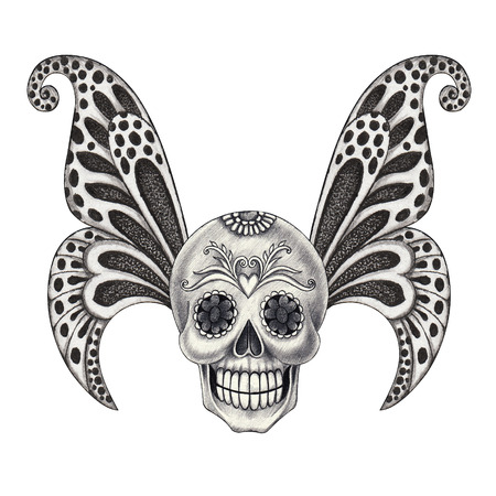pencil cartoon: Skull wings tattoo.Hand pencil drawing on paper.