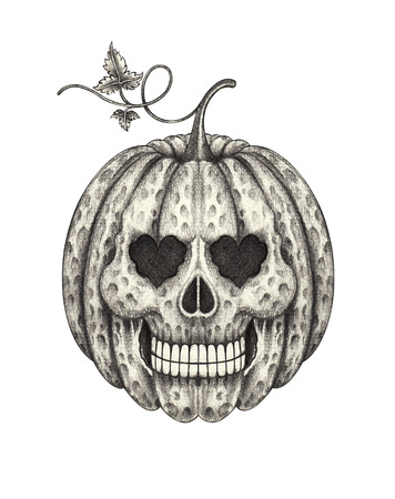 all souls' day: Skull head pumpkin halloween . Hand pencil drawing on paper.