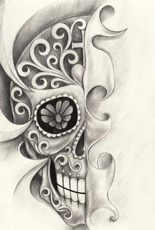 Cráneo día arte del tatuaje del festival muerto. mano dibujo a lápiz sobre papel. Foto de archivo - 41434412
