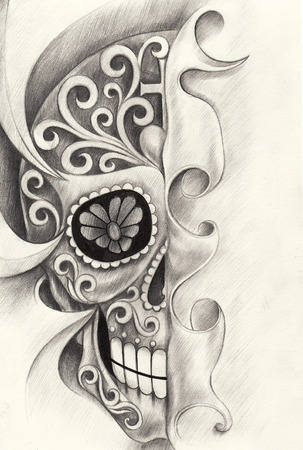 Skull art tattoo  day of the dead festival. hand pencil drawing on paper. Stock Photo