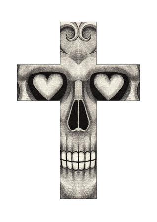 all souls' day: Art skull cross. Hand drawing on paper.