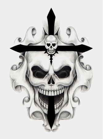 skull and cross bones: Skull art cross tattoo.Hand pencil drawing on paper.