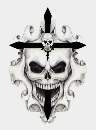 cross bone: Skull art cross tattoo.Hand pencil drawing on paper.
