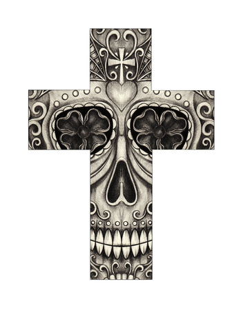 christian festival: Art skull cross day of the dead. Hand drawing on paper.