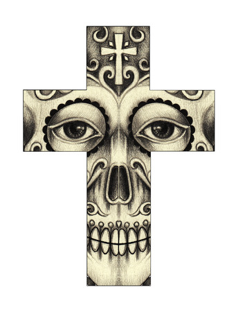 Art skull cross day of the dead. Hand drawing on paper.
