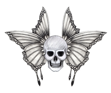 dead insect: Skull wings tattoo.Hand pencil drawing on paper.