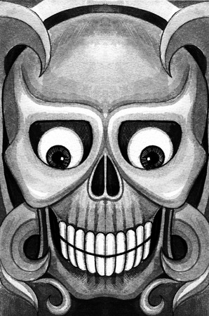 death metal: Skull art tattoo.Hand pencil drawing on paper. Stock Photo
