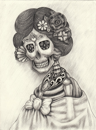 heavy heart: Women skull art day of the dead hand pencil drawing on paper.