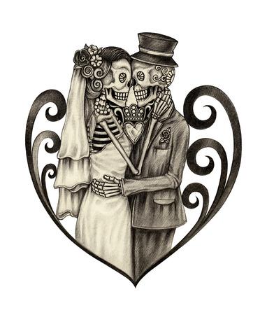 dia de muertos: Arte cr�neo d�a de la boda de los muertos. Dibujo a mano en papel. Foto de archivo