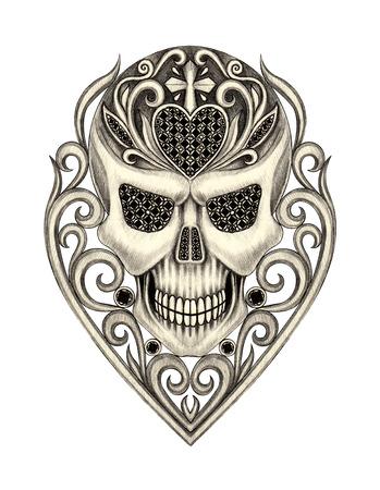 dessin coeur: Jour Crâne Art des morts. dessin à la main sur papier. Banque d'images
