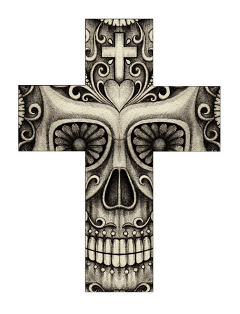 all souls day: Art skull cross day of the dead. Hand drawing on paper.