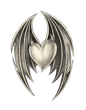 Heart wing devil tattoo .Hand pencil drawing on paper.