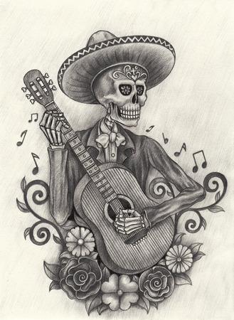 dia de muertos: Hombres cr�neo jugando D�a guitarra del dibujo dead.Hand en papel. Foto de archivo