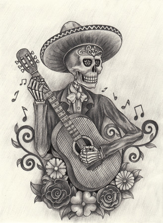 Men Skull playing guitar Day of the dead.Hand Drawing on paper. Stock Photo