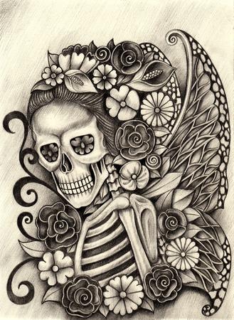 Mujeres cráneo día el arte de hadas de la mano muerta dibujo a lápiz sobre papel. Foto de archivo - 43578056
