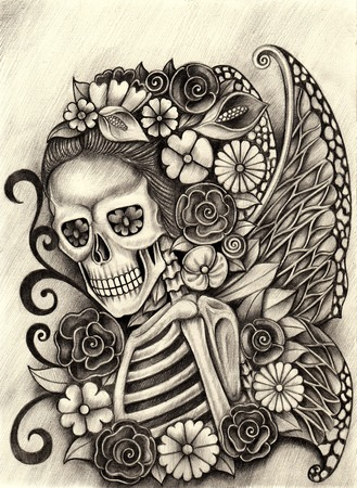 Women skull fairy art day of the dead hand pencil drawing on paper.