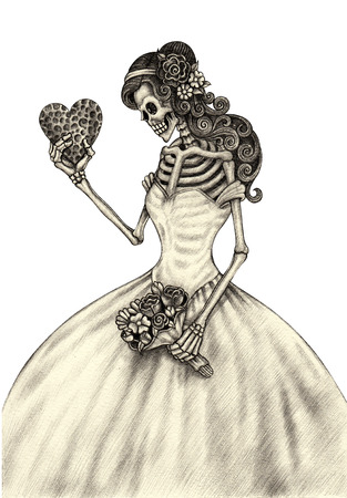 squelette: Femmes crâne art jour du crayon de main morte dessin sur papier.