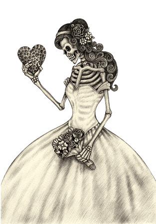 esqueleto: Mujeres cr�neo d�a el arte de la mano muerta dibujo a l�piz sobre papel.